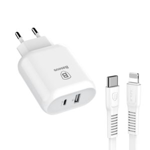 Baseus Bojure Series (USB And Type-C Charging Ports 32w Quick Charger with USB-C/ Lightning 1m Cable)